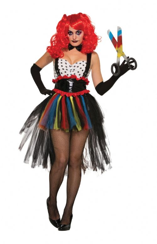 Ladies Evil Girlie Clown Costume Nasty Wicked Villian Fancy Dress Outfit